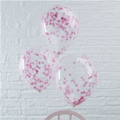 "Pick & Mix Pink Confetti Balloons - 12"" Latex (5pk)"